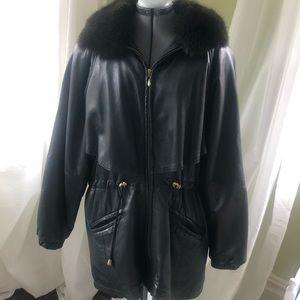 Damselle Leather Jacket with Fur Collar